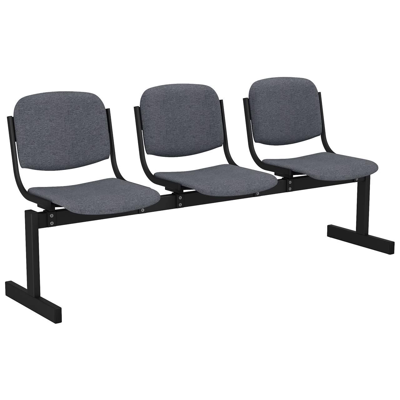 3-местный, не откидывающиеся сиденья, мягкий черный серый Офисная ткань