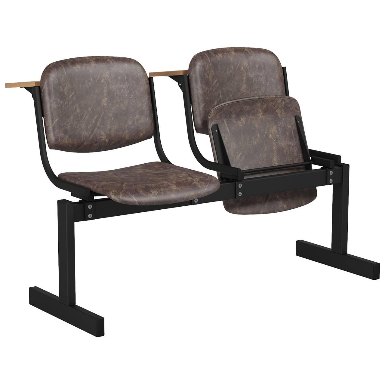 2-местный, откидывающиеся сиденья, мягкий, лекционный черный коричневый Кожзаменитель