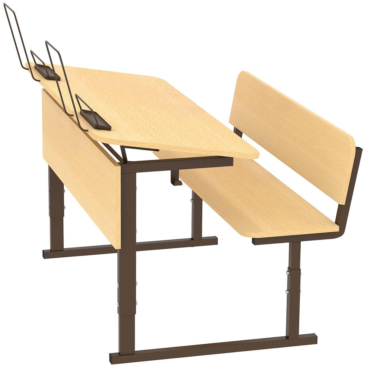 Парта ученическая 2-местная регулируемая по высоте и наклону столешницы 0-10° 2-4, 3-5 или 4-6 гр. коричневый Клен 3-5 Меламин