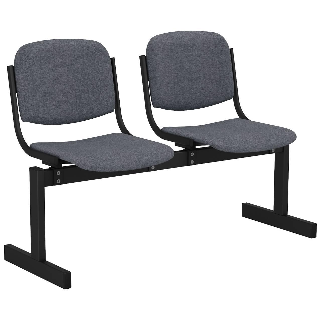 2-местный, не откидывающиеся сиденья, мягкий черный серый Офисная ткань