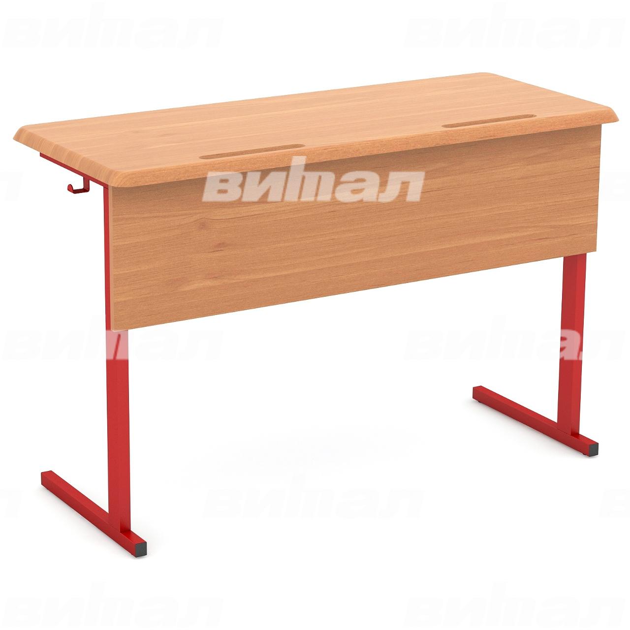 Стол ученический 2-местный нерегулируемый (гр. 3, 4, 5, 6) МДФ красный Бук 4 МДФ