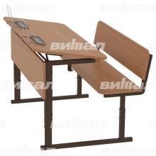 Парта ученическая 2-местная регулируемая по высоте и наклону столешницы 0-10° 3-5 или 4-6 гр.
