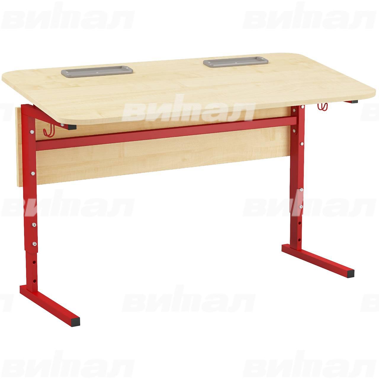 Стол 2-местный регулир. высота и наклон столешницы 0-10° (гр 2-4, 3-5, 4-6 или 5-7) красный Клен 5-7 Меламин прямоугольная