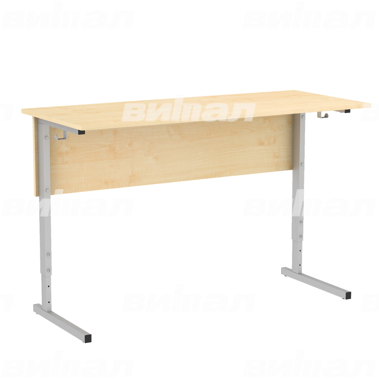 Стол ученический 2-местный регулируемый (гр. 2-4, 3-5 или 4-6) серый Клен 2-4 Меламин