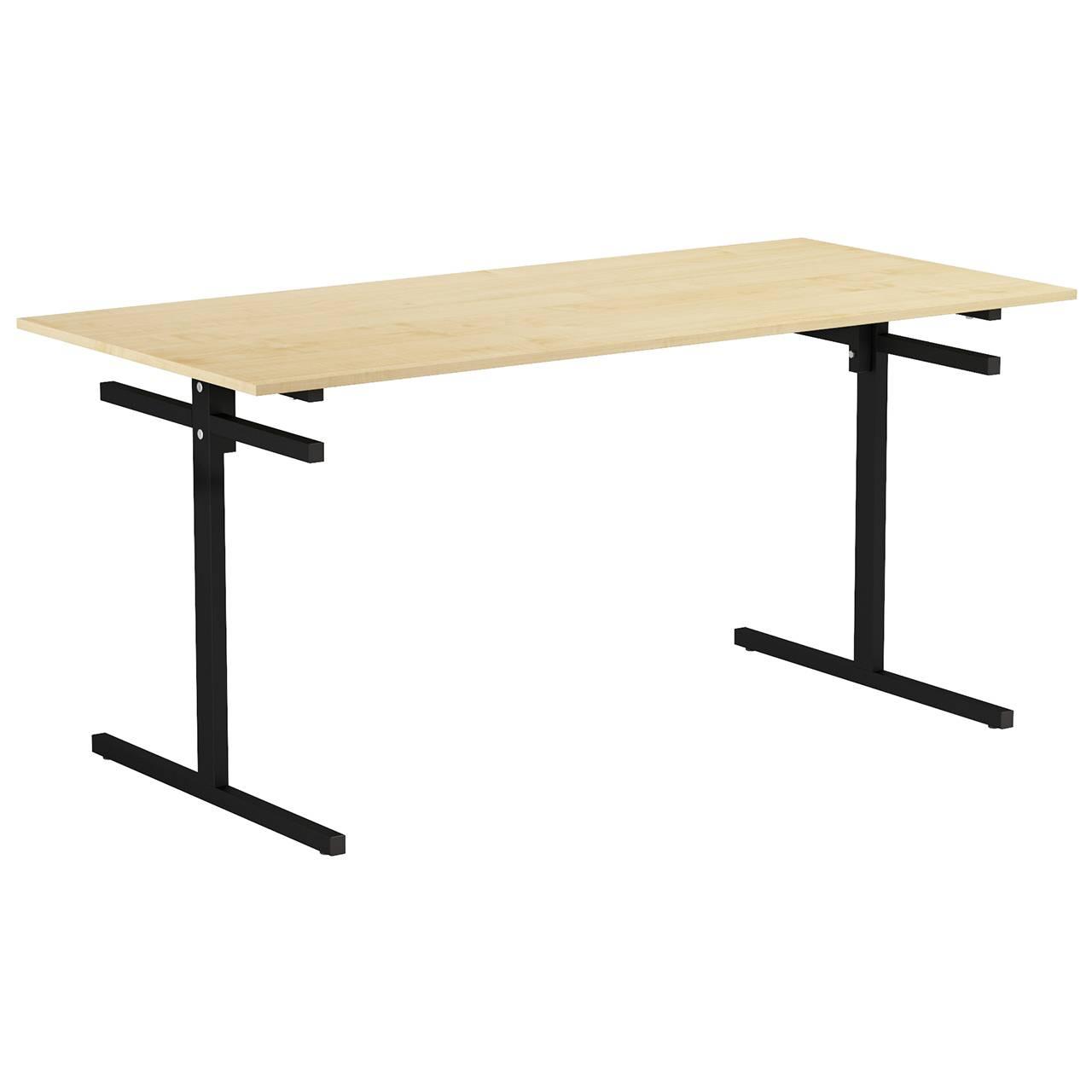 Стол для столовой 6-местный для скамеек (гр. 5,6) черный Клен 6 Пластик