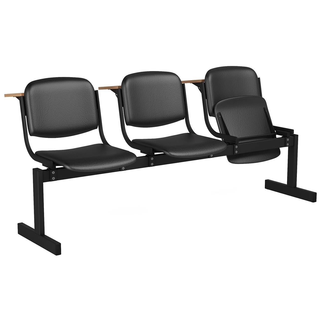3-местный, откидывающиеся сиденья, мягкий, лекционный черный черный Кожзаменитель