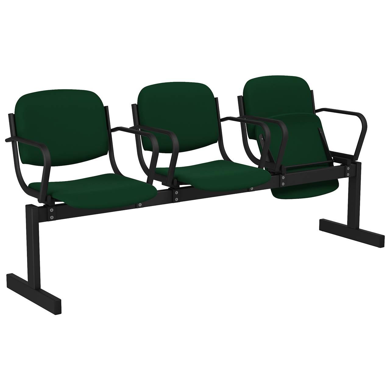 3-местный, откидывающиеся сиденья, мягкий, подлокотники черный зеленый Флок