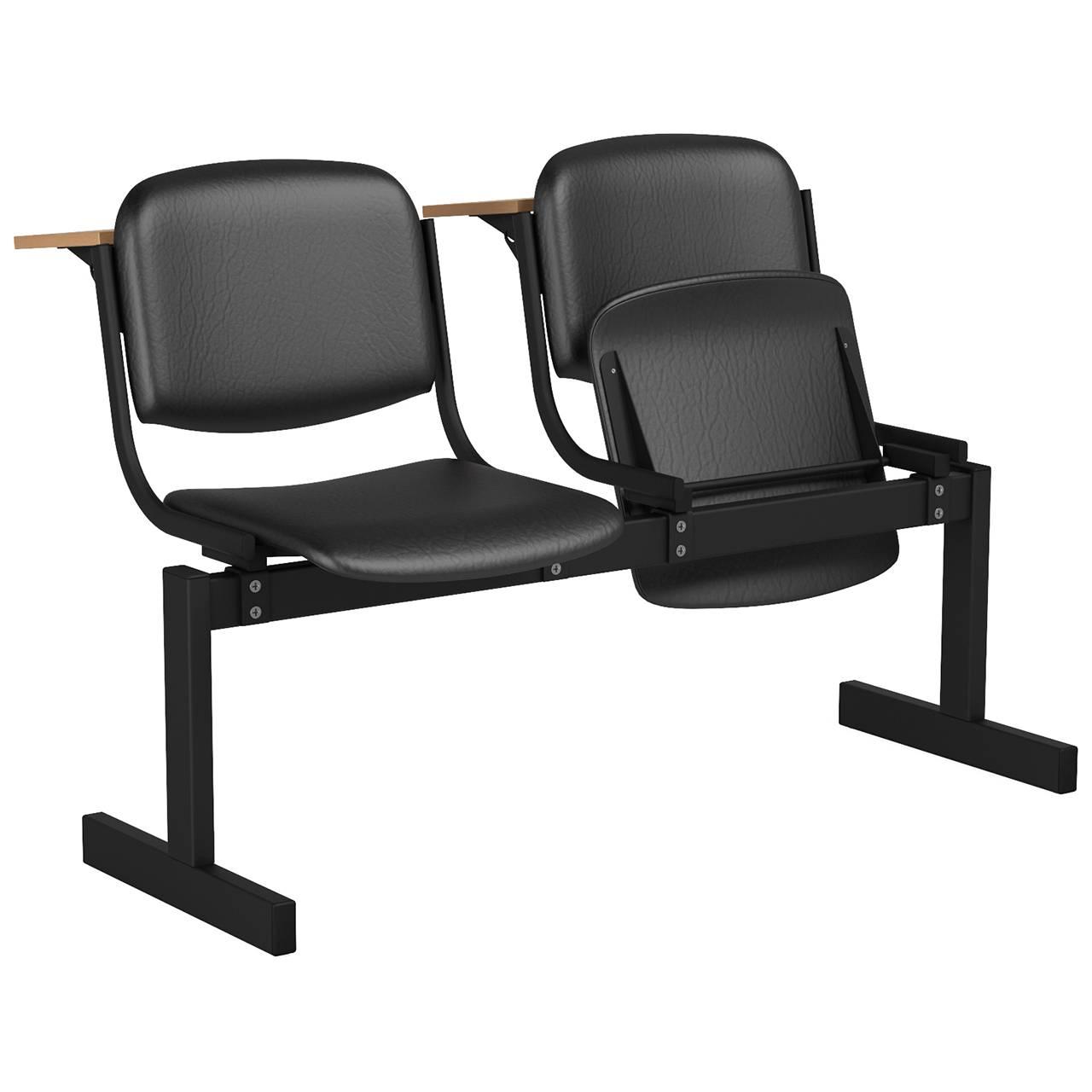 2-местный, откидывающиеся сиденья, мягкий, лекционный черный черный Кожзаменитель