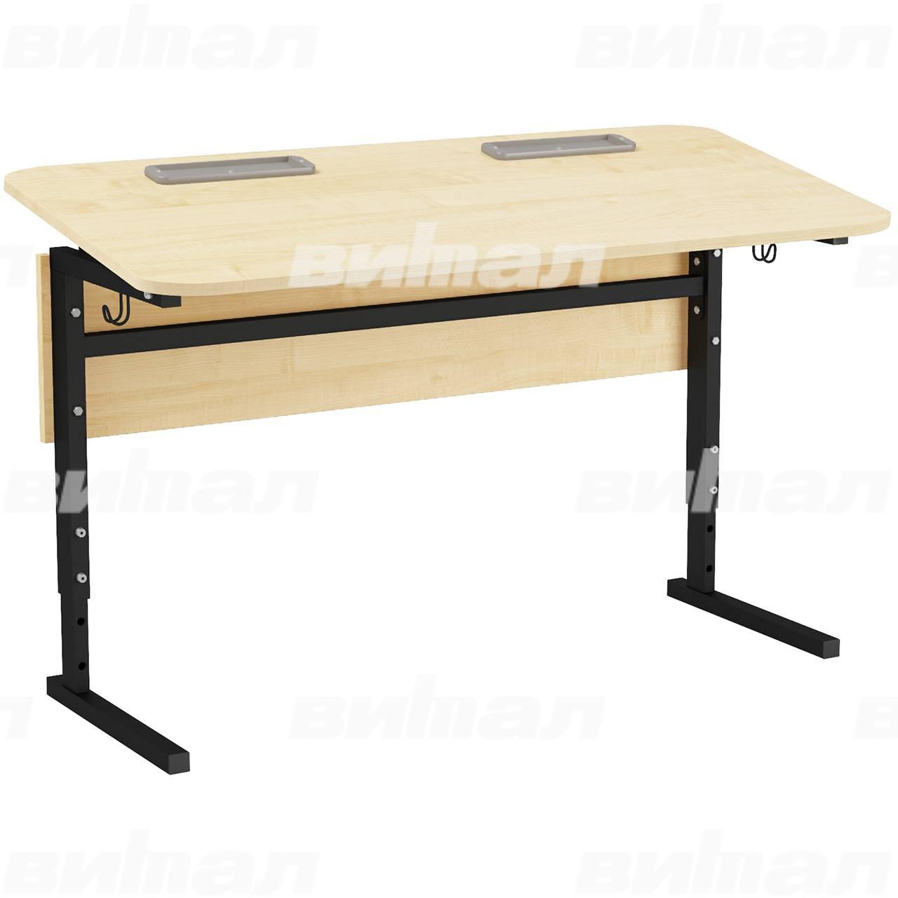 Стол 2-местный регулир. высота и наклон столешницы 0-10° (гр 2-4, 3-5, 4-6 или 5-7) черный Клен 5-7 Меламин прямоугольная