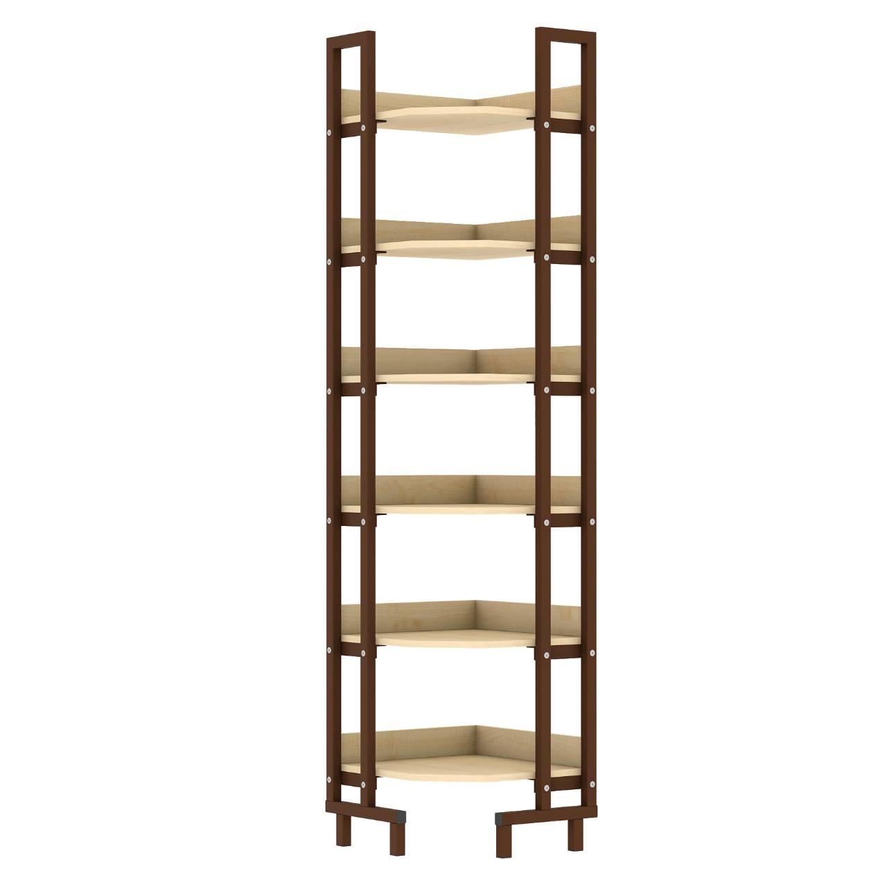 Стеллаж библиотечный угловой коричневый Клен Меламин