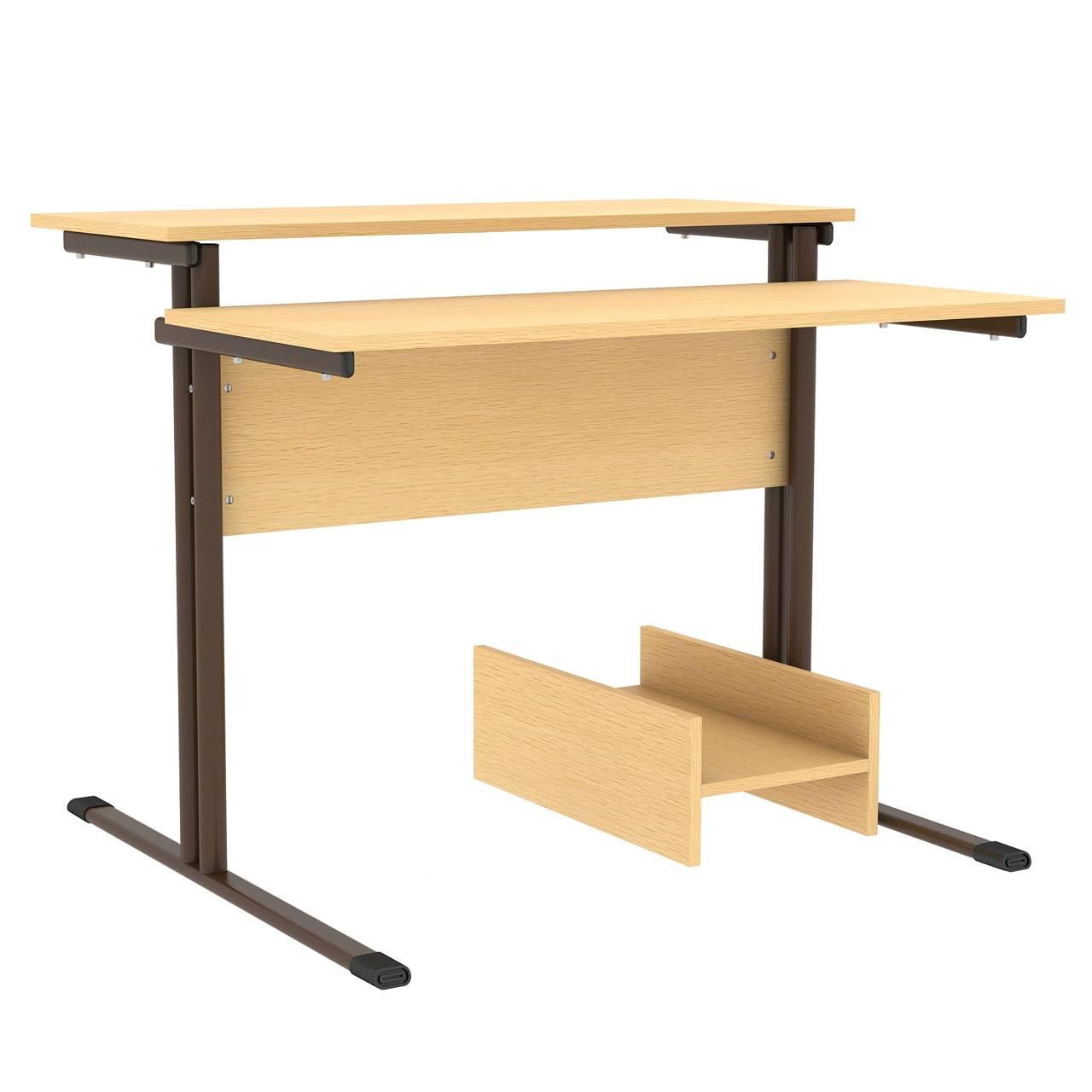 Стол компьютерный на м/к (круглая труба) коричневый Клен Меламин