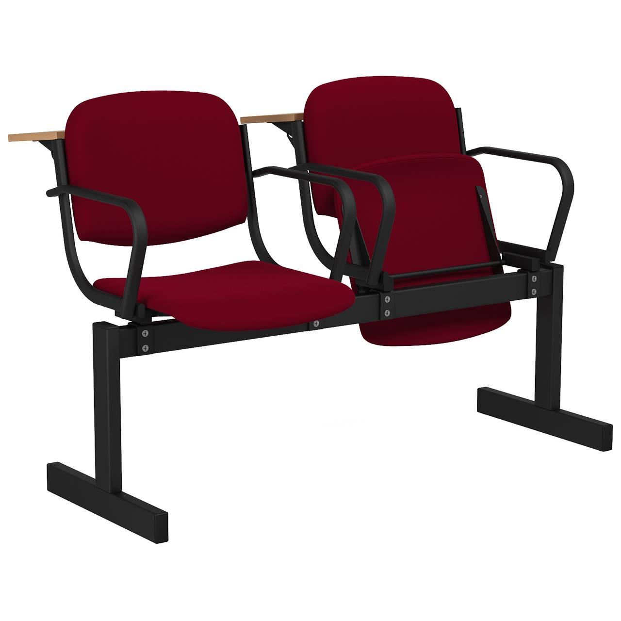 2-местный, откидывающиеся сиденья, мягкий, подлокотники, лекционный черный бордо Флок