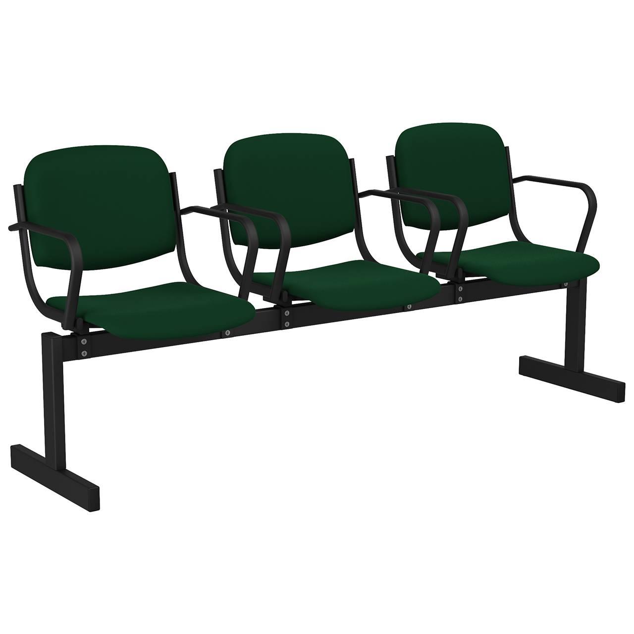 3-местный, не откидывающиеся сиденья, мягкий, подлокотники черный зеленый Флок