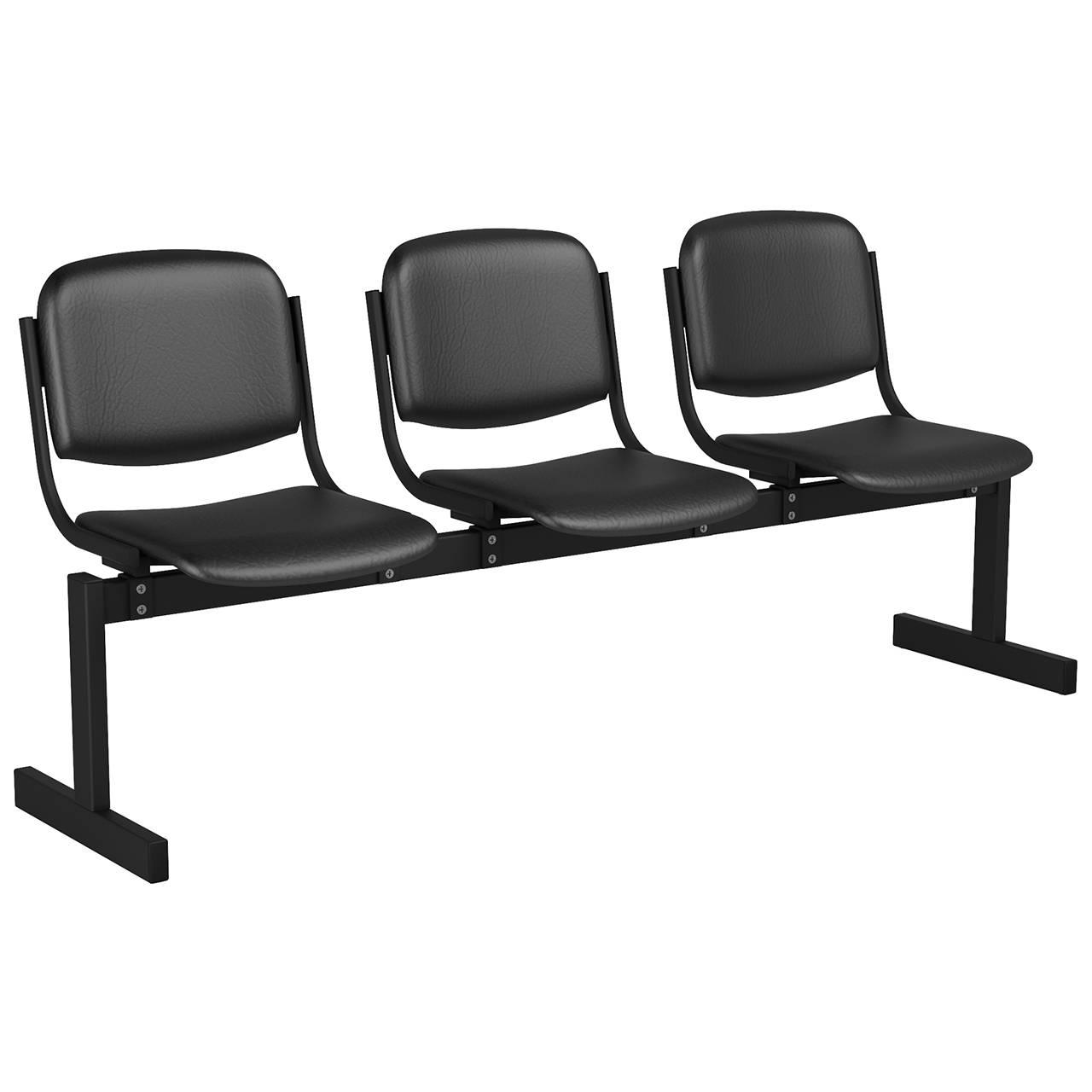 3-местный, не откидывающиеся сиденья, мягкий черный черный Кожзаменитель