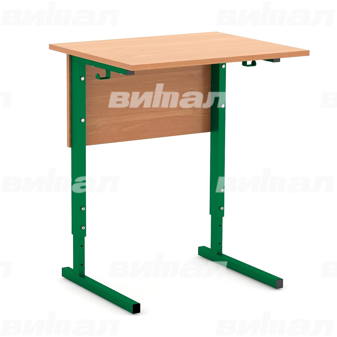 Стол ученический 1-местный регулируемый (гр. 2-4, 3-5 или 4-6) зеленый Ольха 3-5 Меламин
