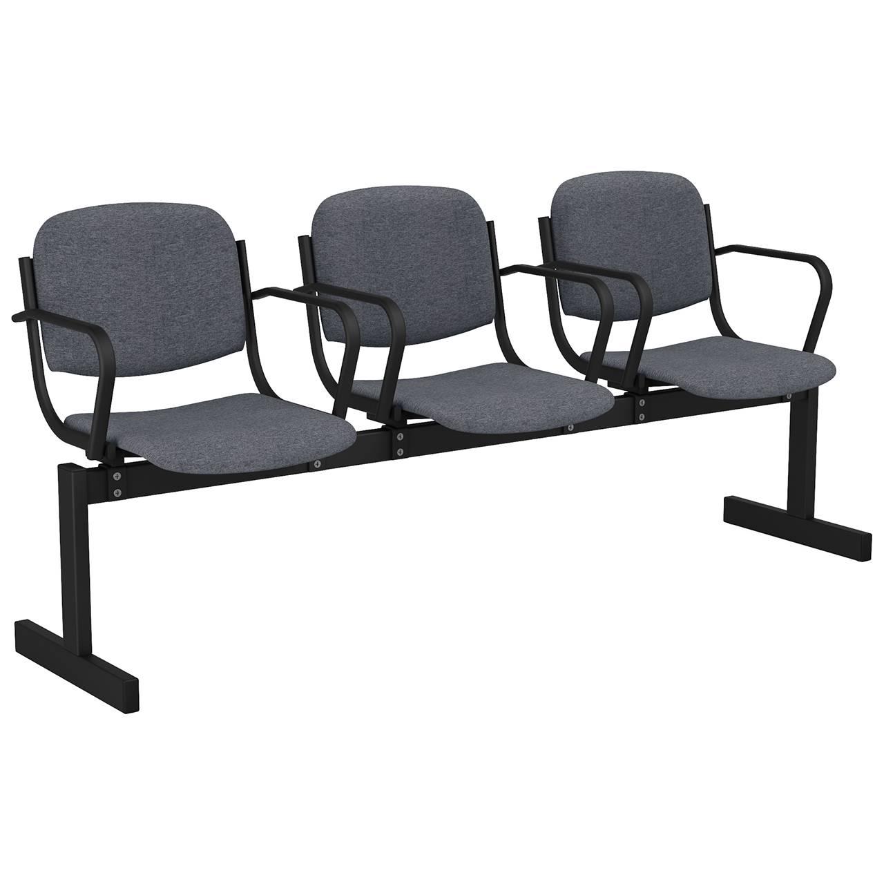 3-местный, не откидывающиеся сиденья, мягкий, подлокотники черный серый Офисная ткань
