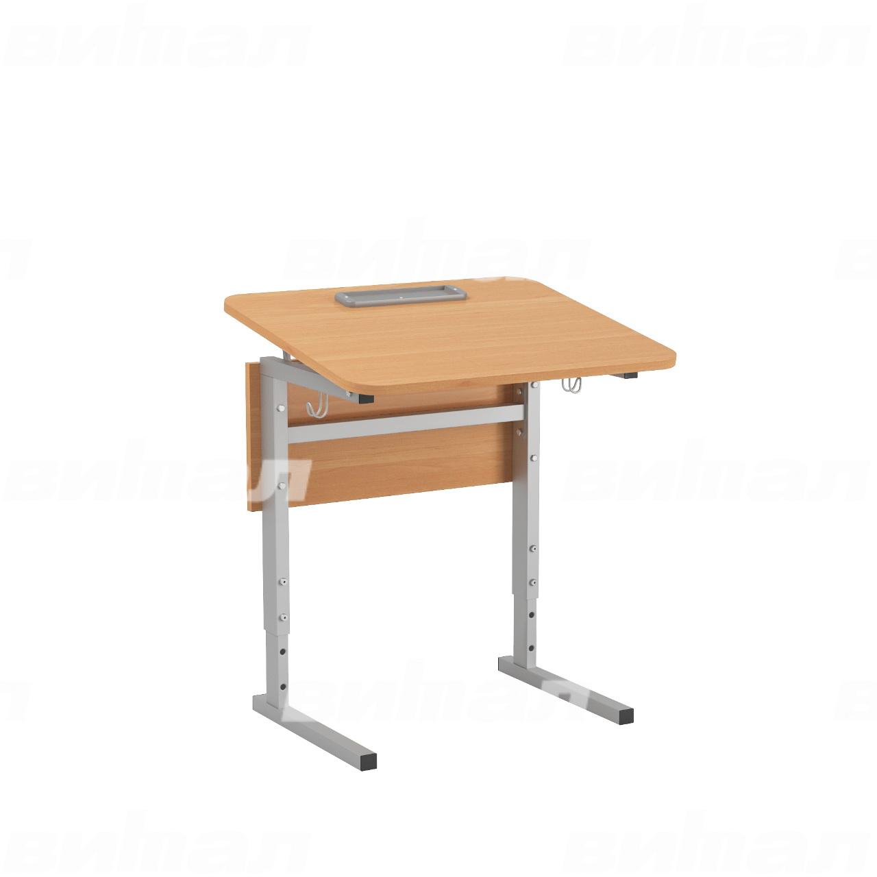 Стол 1-местный регулир. высота и наклон столешницы 0-10° (гр 2-4, 3-5 или 4-6) серый Ольха 3-5 Меламин прямоугольная