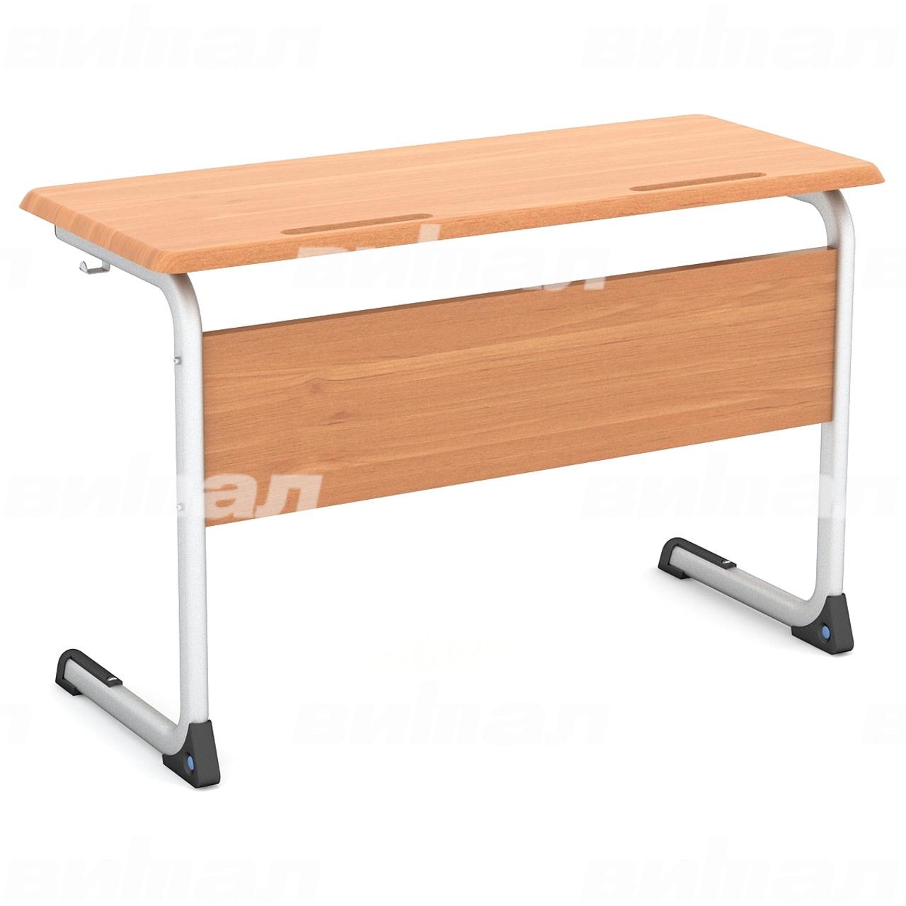 Стол ученический 2-местный нерегулируемый (гр. 3, 4, 5 или 6) МДФ серый Бук 5 МДФ плоскоовальная