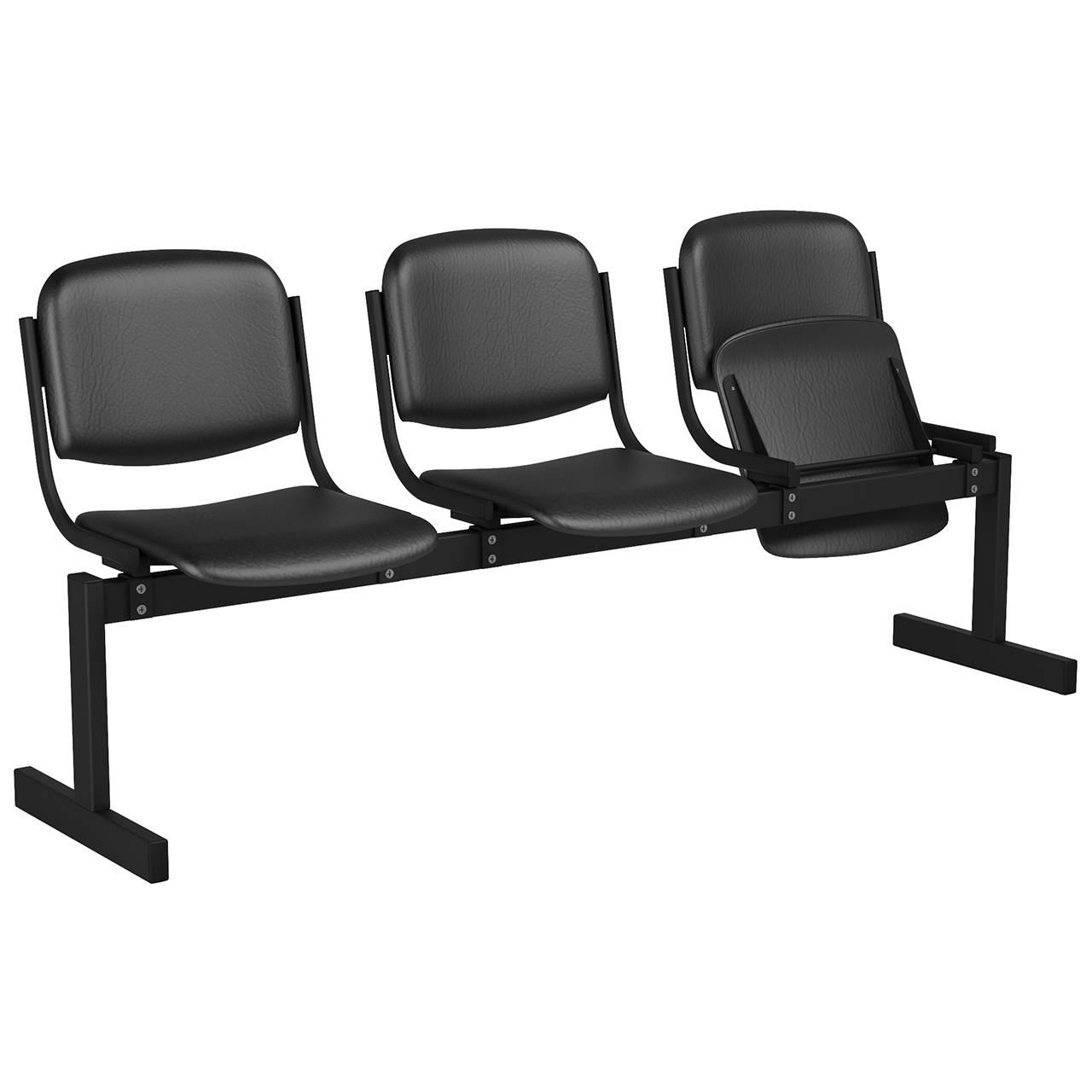3-местный, откидывающиеся сиденья, мягкий черный черный Кожзаменитель